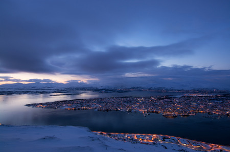 Blue Hour, photo taken over Tromso, Norway, in February.