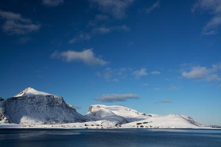Landscape in winter at the Lofoten in Norway.