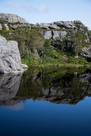 Landscape at the way up to thePreikestolen or Prekestolen in the norwegian province Rogaland. Stock Photo