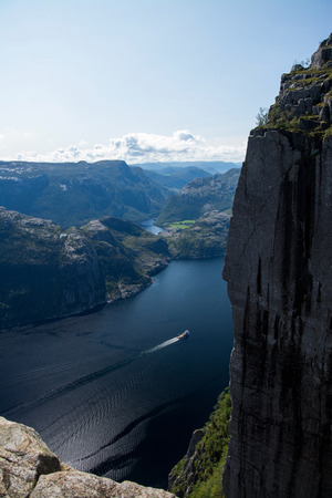 natural formation: The Preikestolen or Prekestolen is a natural rock formation  in Ryfylke in the norwegian province Rogaland.