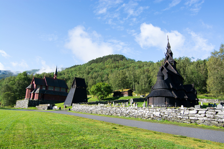 Borgund Stave Church is a stave church located in the Sogn og Fjordane county, Norway. Stock Photo