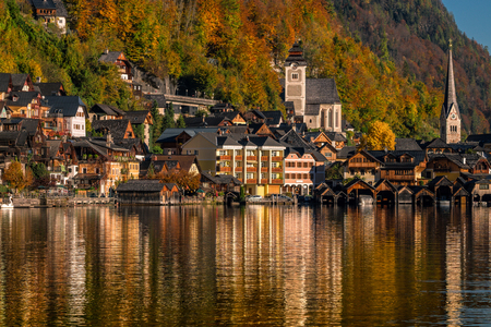 Hallstatt is a small village in the district of Gmunden, in the Austrian state of Upper Austria. Stock Photo