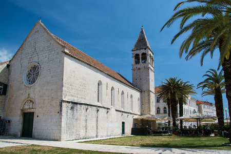 Trogir is a historic town and harbour on the Adriatic coast in Split-Dalmatia County, Croatia, Stock Photo