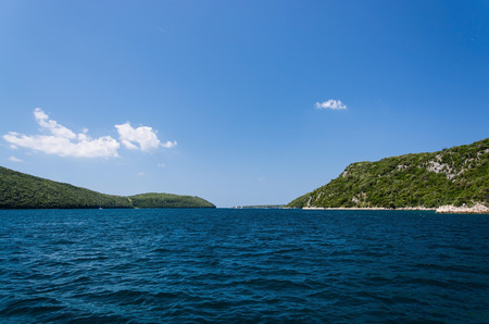 The Lim bay and valley is a peculiar geographic feature on the western coast of Istria, Croatia. Banco de Imagens