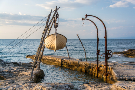 Savudrija is a coastal settlement in northwestern Istria, Croatia and known for its hanging boats. 스톡 콘텐츠