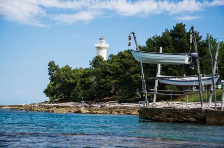 Savudrija is a coastal settlement in northwestern Istria, Croatia. The lighthouse is the most northerly in Croatia. 免版税图像