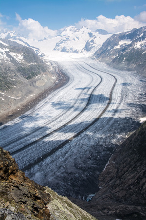 The Aletsch Glacier is the largest glacier in the eastern Bernese Alps in the Swiss canton of Valais. Stock Photo
