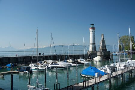 Lindau is a major town and island on the eastern side of Lake Constance in Bavaria, Germany, and the historic town of Lindau is located on the sland of the same name. Stock Photo