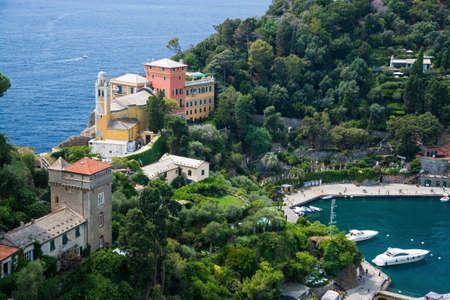 The Church of San Giorgio is a small Catholic church in Portofino, located on an elevated position, enjoying a panoramic view of the Marina di Portofino. Zdjęcie Seryjne