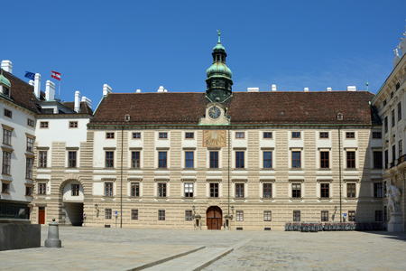 View from the courtyard of the Hofburg in Vienna to the Amalienburg - Austria.