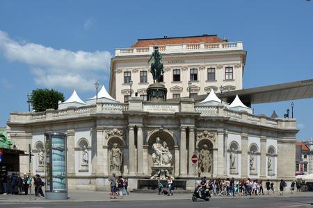 Albertina Museum for Graphic Art in Vienna with Equestrian statue of Archduke Albrecht - Austria. 報道画像