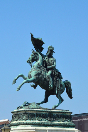 Equestrian statue of Archduke Karl on the Heldenplatz opposite the Hofburg in Vienna - Austria.