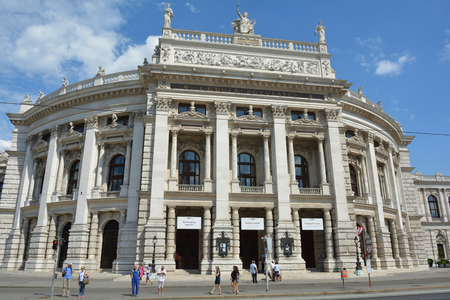 The Burgtheater at the Ringstrasse in Vienna with the main entrance to the Austrian National Theater - Austria.