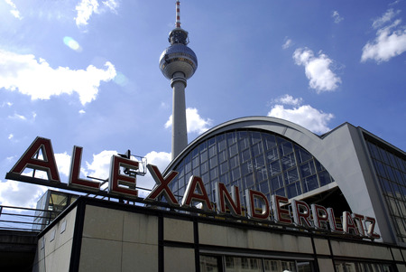 Alexanderplatz with the Televisions tower in the center of the German capital Berlin - Germany.