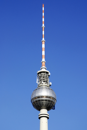 Dome of the TV tower at Alexanderplatz in Berlin - Germany. Stock Photo