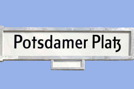 Street sign at the Potsdamer Platz in the German capital Berlin - Germany.
