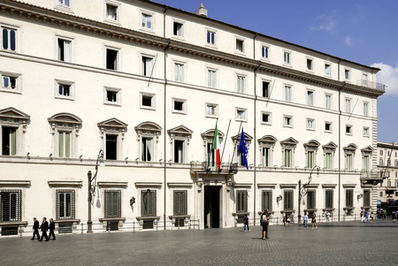 Palazzo Chigi at the Piazza Colonna in Rome: Residence of the Italian Prime Minister - Italy.