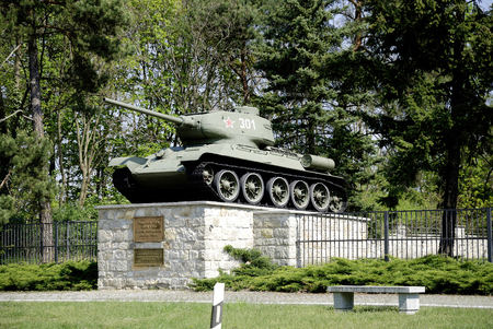 Tanks of the Russian T-34 type on Soviet military cemetery in Baruth south of Berlin - Germany. Editorial