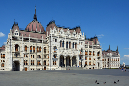 Main portal of the Hungarian parliament Building in the capital Budapest - Hungary. Banco de Imagens