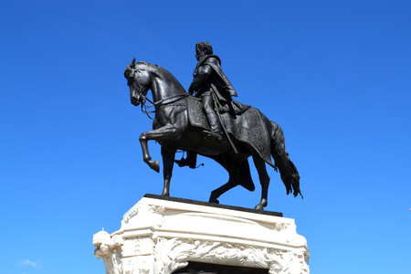 Equestrian statue of the politician Gyala Andrassy in front of the Hungarian Parliament in Budapest - Hungary.