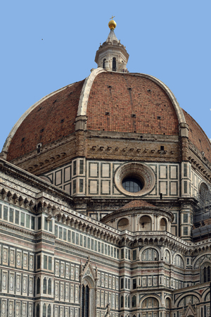 Dome of the Cathedral of Santa Maria del Fiore at Firenze - Italy. Stock Photo