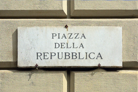 Street sign of the Piazza della Repubblica at the historic center of Florence - Italy.