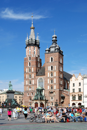 St. Mary's Church at Main market square in the old town of Krakow - Poland.