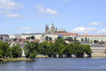 View of the Hradcany castle on the Vltava river in Prague - Czech Republic.