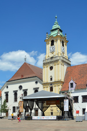 Old Town Hall with Municipal museum on the Main square of the Slovak capital Bratislava - Slovakia. Éditoriale