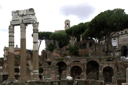 Columns of the Venus temple at the Forum Romanum at this Via dei Fori Imperiali in Rome - Italy.