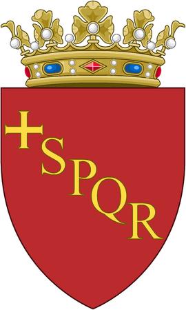 Coat of Arms of the Italian capital city Rome - Italy. Фото со стока