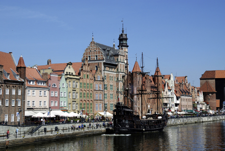 Historic Old Town of Gdansk with the Old Harbor on the Motlawa - Poland. Redakční