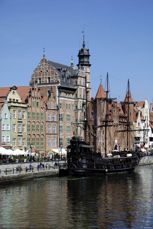 Historic Old Town of Gdansk with the Old Harbor on the Motlawa - Poland. Editorial