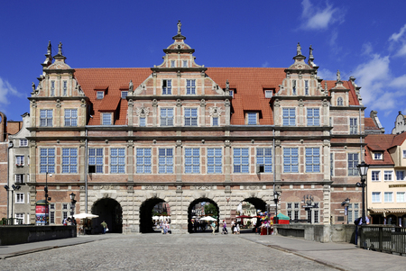 Historic Old Town of Gdansk with the Greens Gate at the Long Market - Poland. Zdjęcie Seryjne