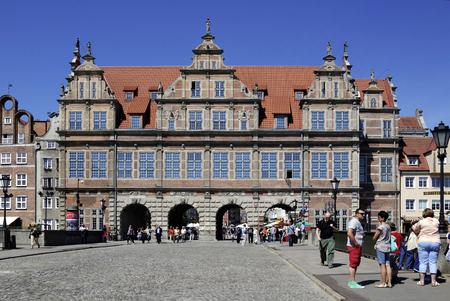 Historic Old Town of Gdansk with the Greens Gate at the Long Market - Poland. Publikacyjne