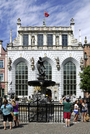 Artus Court with Neptune fountain at the Long Market in Gdansk - Poland.