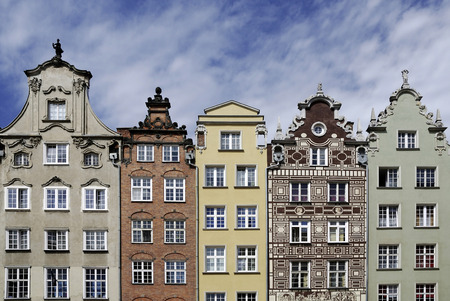 Historic Gabled houses on the Long Market in the Old Town of Gdansk - Poland.