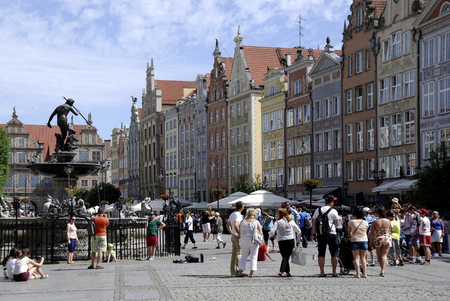 Old Town of Gdansk with historic Gabled houses on Long Market - Poland.