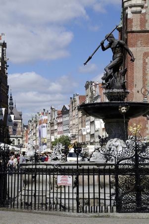 Neptune fountain at the Long Market in Gdansk - Poland. Publikacyjne