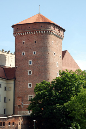 Tower of the fortress on Wawel Hill of Krakow - Poland.