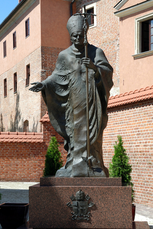 Monument to the Polish Pope John Paul the Second Wawel of Krakow - Poland.