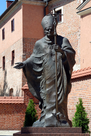 Denkmal für den polnischen Papst Johannes Paul den zweiten Wawel von Krakau - Polen.