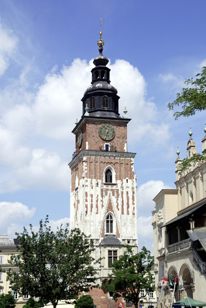 Town Hall Tower on the Market Square in Krakow - Poland.