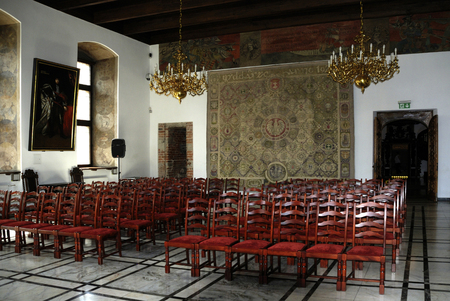 Great Council Chamber in the Town Hall of Gdansk - Poland.