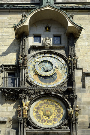 Astronomical clock at the Old Town Hall of Prague - Czech Republic.