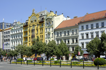 Art Nouvea building Grand Hotel Europa on Wenceslas Square in historic center of Prague - Czech Republic.