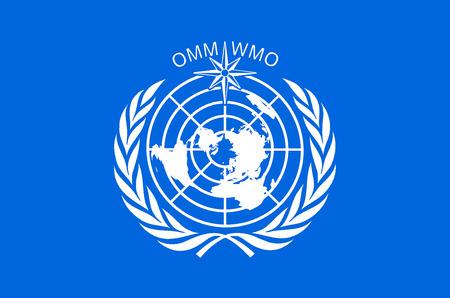 Bandera con el logo de la Organización Meteorológica Mundial OMM con sede en Ginebra.