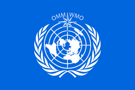Flag with the logo of the World Meteorological Organization WMO with seat in Geneva.