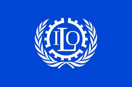 Flag of International Labour Organization ILO with seat in Geneve. Stock Photo - 113413871