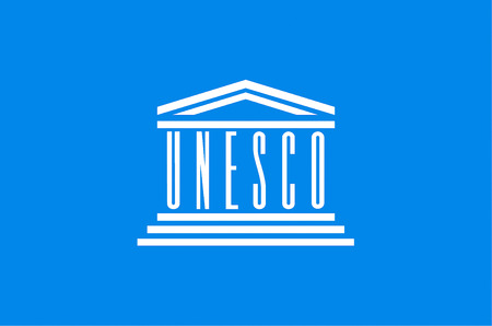 Flag with the logo of the united nations for education, science and culture UNESCO with seat in Paris.